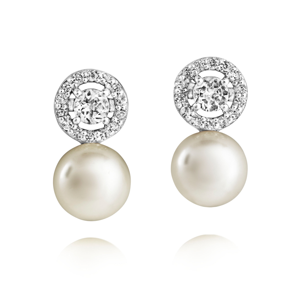 Amberley Pearl Earrings set with natural white topaz and ...