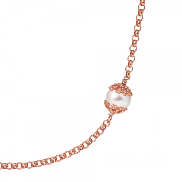 Emma-Kate Long Necklace – Rose Gold, White pearl zoom image