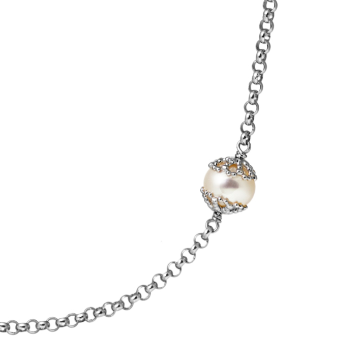 Emma-Kate Long Necklace – Silver, White pearl zoom image