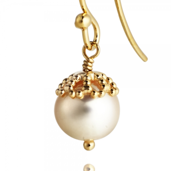 Emma-Kate Drops – Yellow Gold, White pearl zoom image