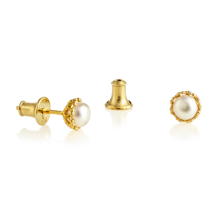 Emma-Kate Pearl Studs - Yellow Gold, White pearl