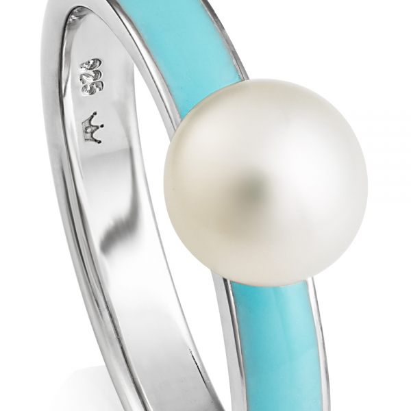 VIVA Pearl Ring - Light blue zoom image