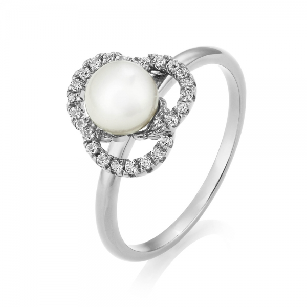 Marette Tau Ring – Sterling Silver and White Topaz image