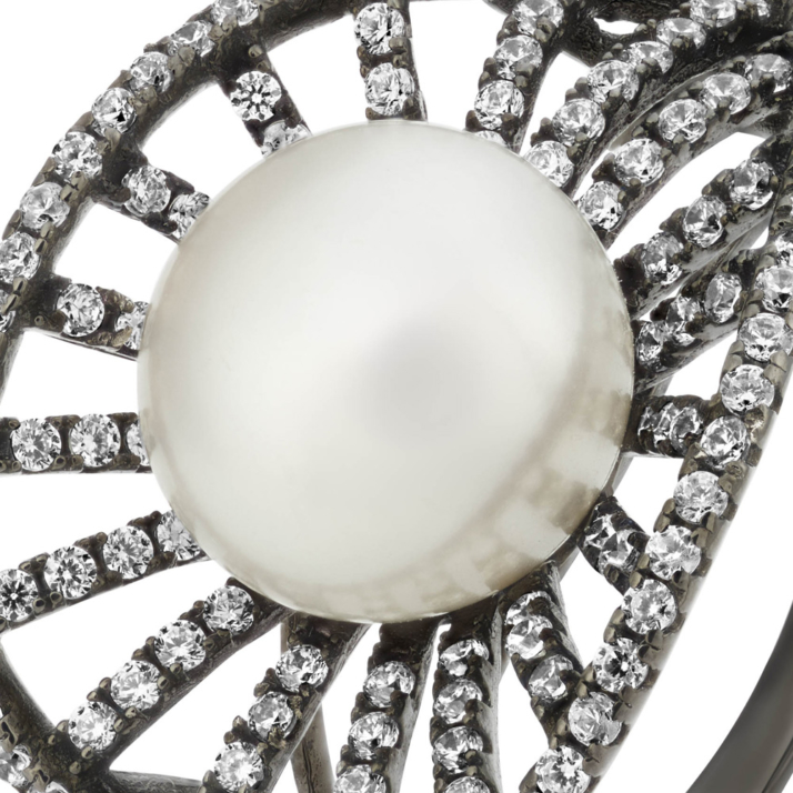 Marette Vega Ring – Black Rhodium Plated Silver and White Topaz zoom image