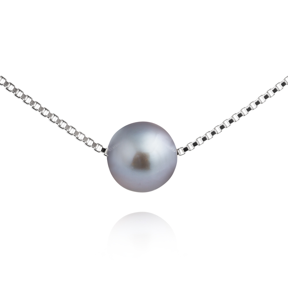 Single Pearl Necklace – Silver Grey pearl image