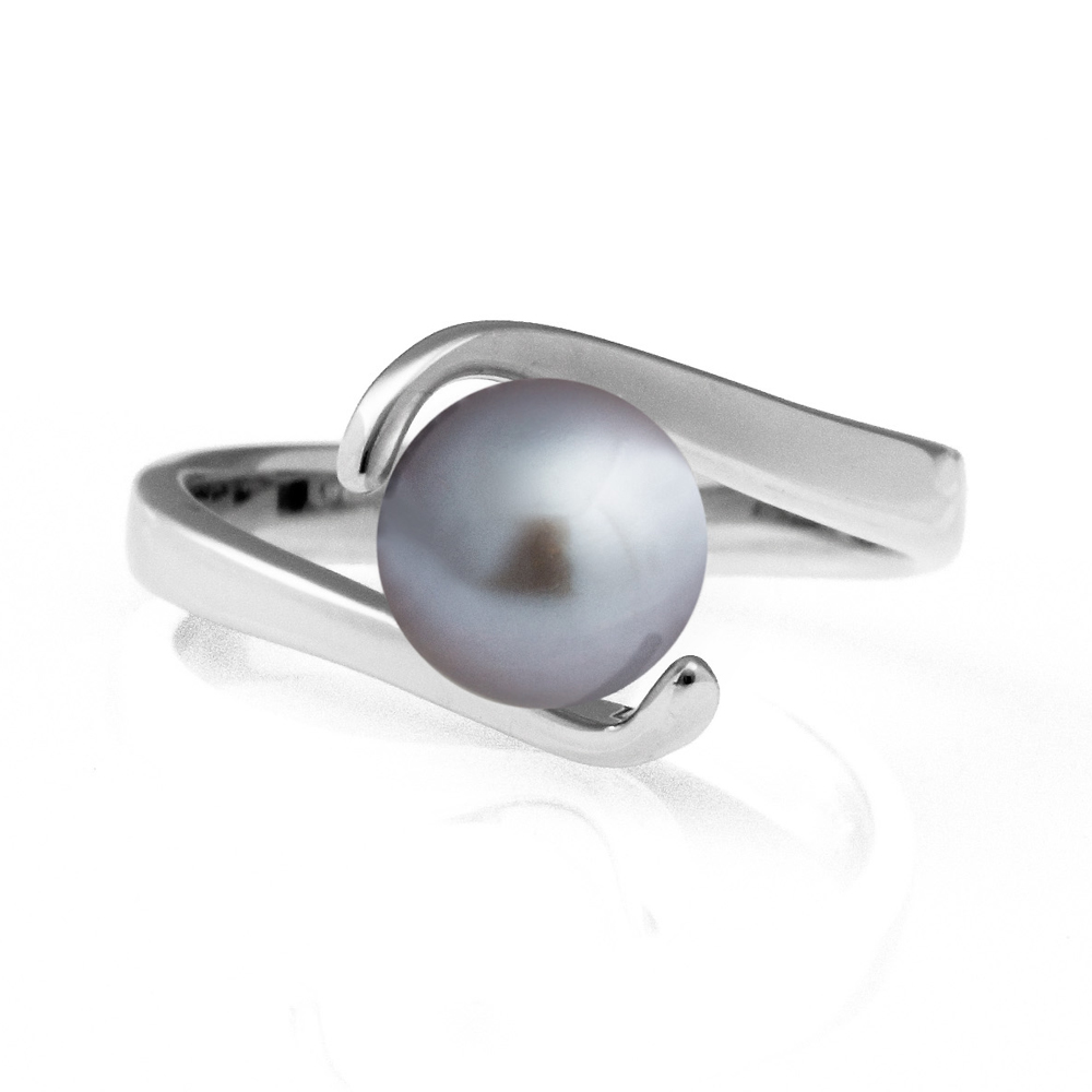 Pearl Wave Ring – Silver Grey pearl image