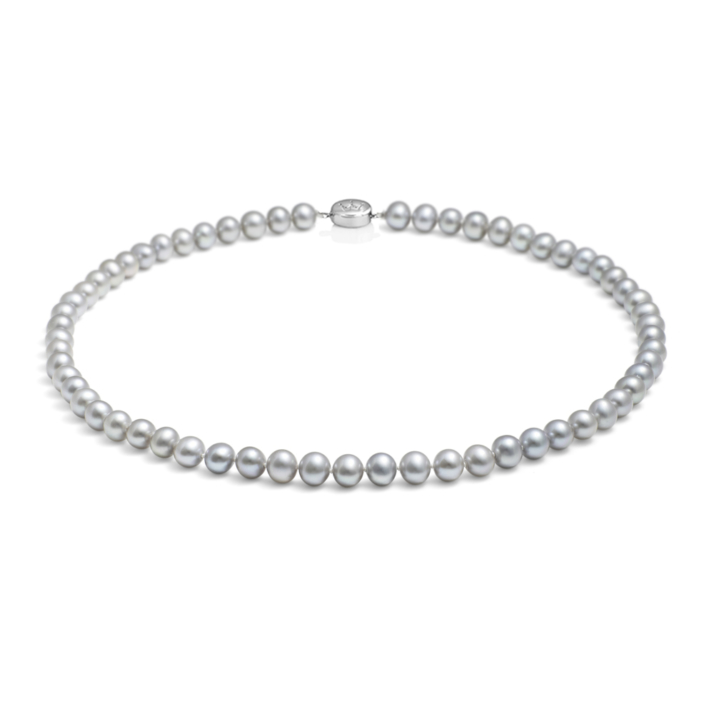 Mid-length, 7.0-7.5mm Classic Pearl Necklace - Silver Grey
