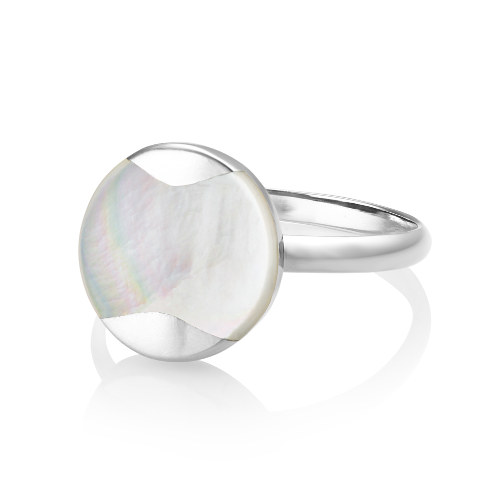 Dune pearl ring - silver